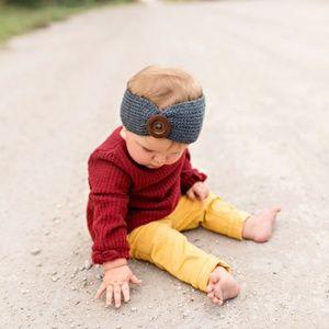 Golden Autumn Knit Button Headband 3pk
